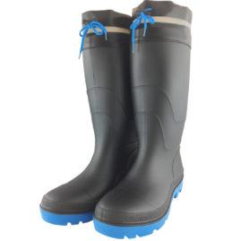 WS3110 PVCフード付長靴 先芯無 黒/青