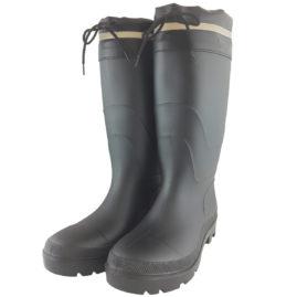 WS3111 PVCフード付安全長靴 黒/黒
